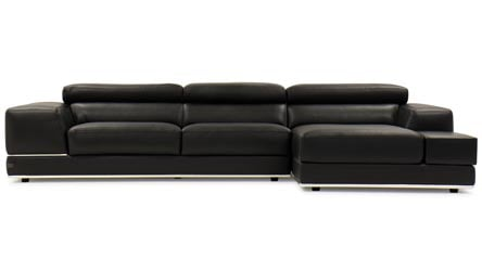 Modern black top grain leather alexis sectional with for Ashley encore grain chaise