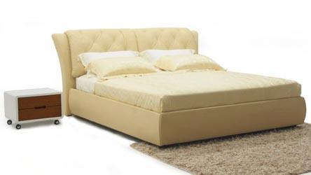 Gemini Champagne Leather Platform Bed