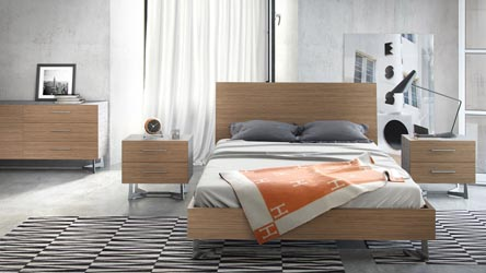 Brighton Wood And Stainless Steel Bed Latte Walnut Zuri Furniture