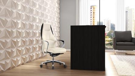 Clinton Reception Desk In Black Oak With White Acrylic