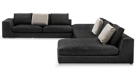 Wynn Black Leather Sectional Sofa With Adjustable