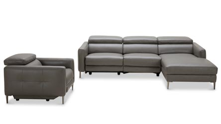 Modern Grey Leather Reno Sectional With Armchair And Power