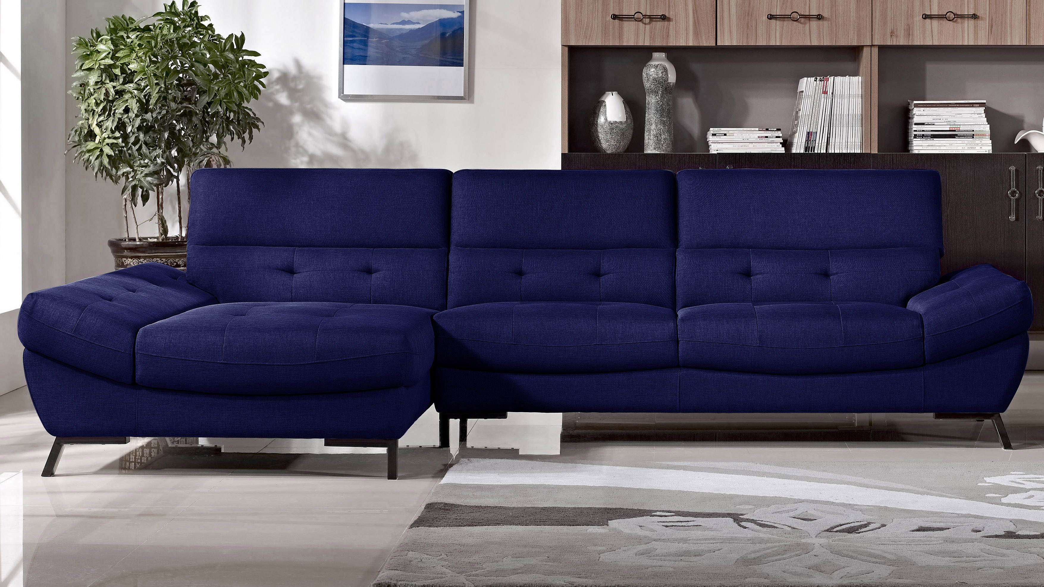 Fabric Tufted Rider Sectional