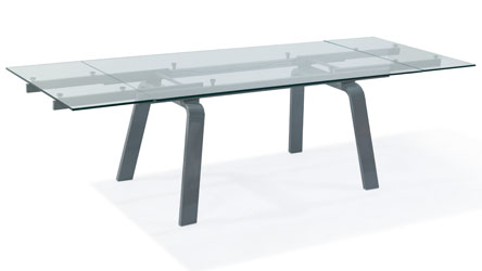 modern clear glass and metal extendable malone dining table zuri furniture. Black Bedroom Furniture Sets. Home Design Ideas