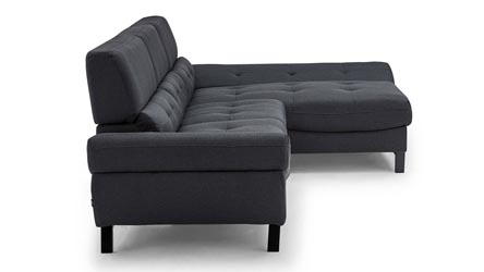 Dark Grey Fabric Tufted Rider Sectional Zuri Furniture