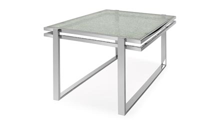 Mosaic dining table cracked glass top stainless steel bas for Cracked glass dining table