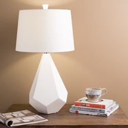 Parlaq Ceramic Base And Bell Faux Silk Shade Table Lamp