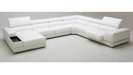 Wynn Leather Sectional Sofa With Adjule Headrests Right Chaise Zuri Furniture
